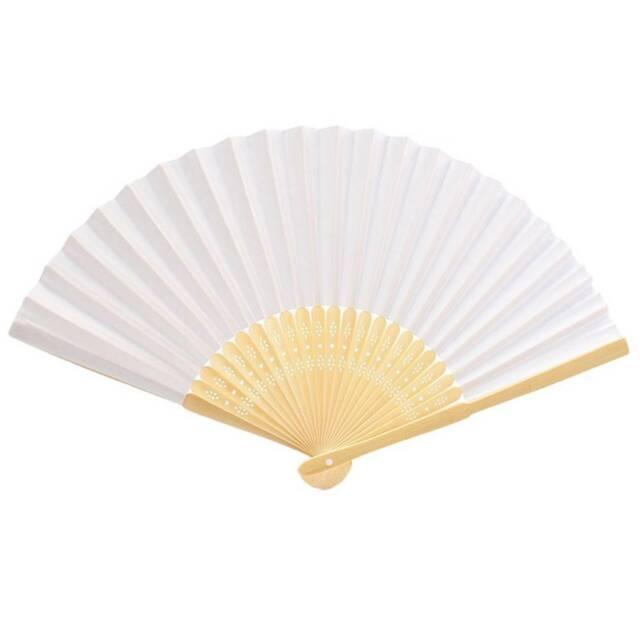 Simple Blank DIY Paper Hand Folding Fan Wedding Party Folding Fans Gift DP/AU