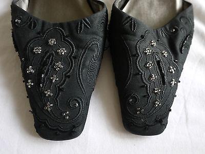 M&S Negro Correa De Tobillo Noche Zapatos Talla 4 Buen Estado