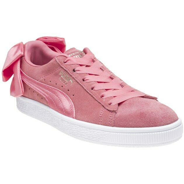 New Womens Puma Pink Suede Bow Trainers Court Lace Up
