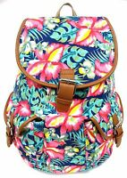 Women's Travel Outdoor Canvas Backpack Large Size Padded Strap -tropical Flower