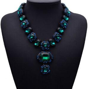 Gruen-Glas-Strass-Kette-Statementkette-Halskette-Collier-Modeschmuck-schwarz-neu