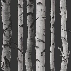 Fine-Decor-Bouleau-Arbres-Papier-Peint-10m-Noir-amp-Argente-Neuf-Piece-Decor