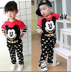 05b43c16f 2pcs Baby Boys/Girls Mickey Mouse Long Sleeve Tops +Pants Set Kids ...