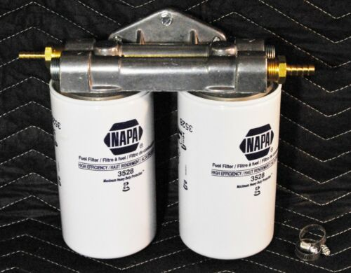 "Dual Diesel Fuel Remote Mount NO NAPA GOLD 3528 Filters 3//8"" Hose Fittings"