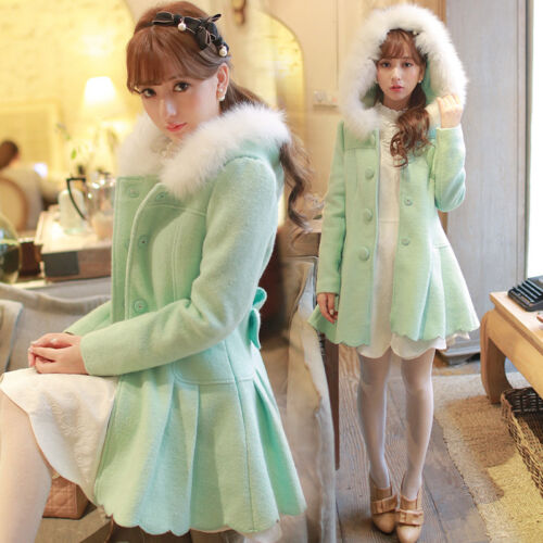 Gown Womens Sweet Lolita Princess Slim Warm Woolen Hooded Coat Overcoat Winter
