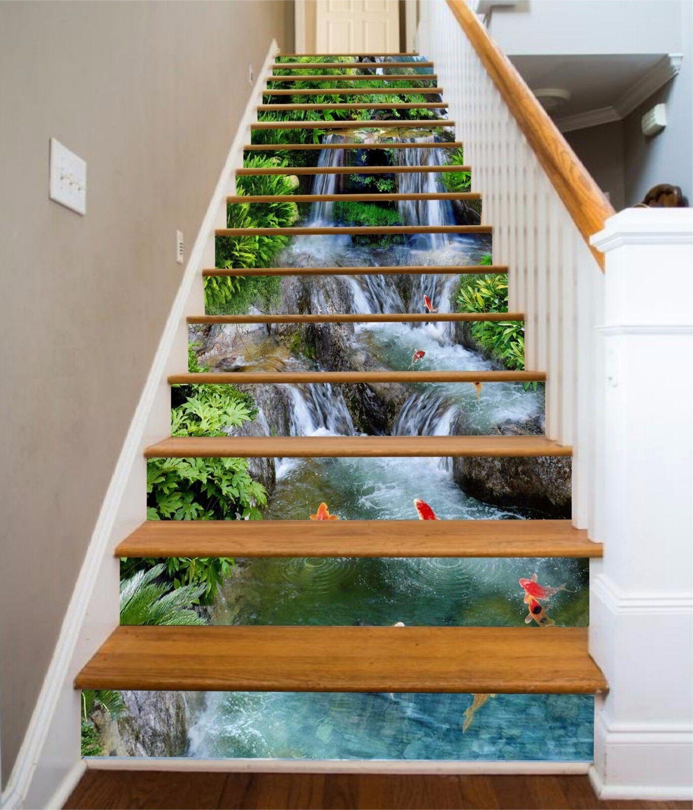 3D Waterfall pond 5 Stair Risers Decoration Photo Mural Vinyl Decal Wallpaper UK