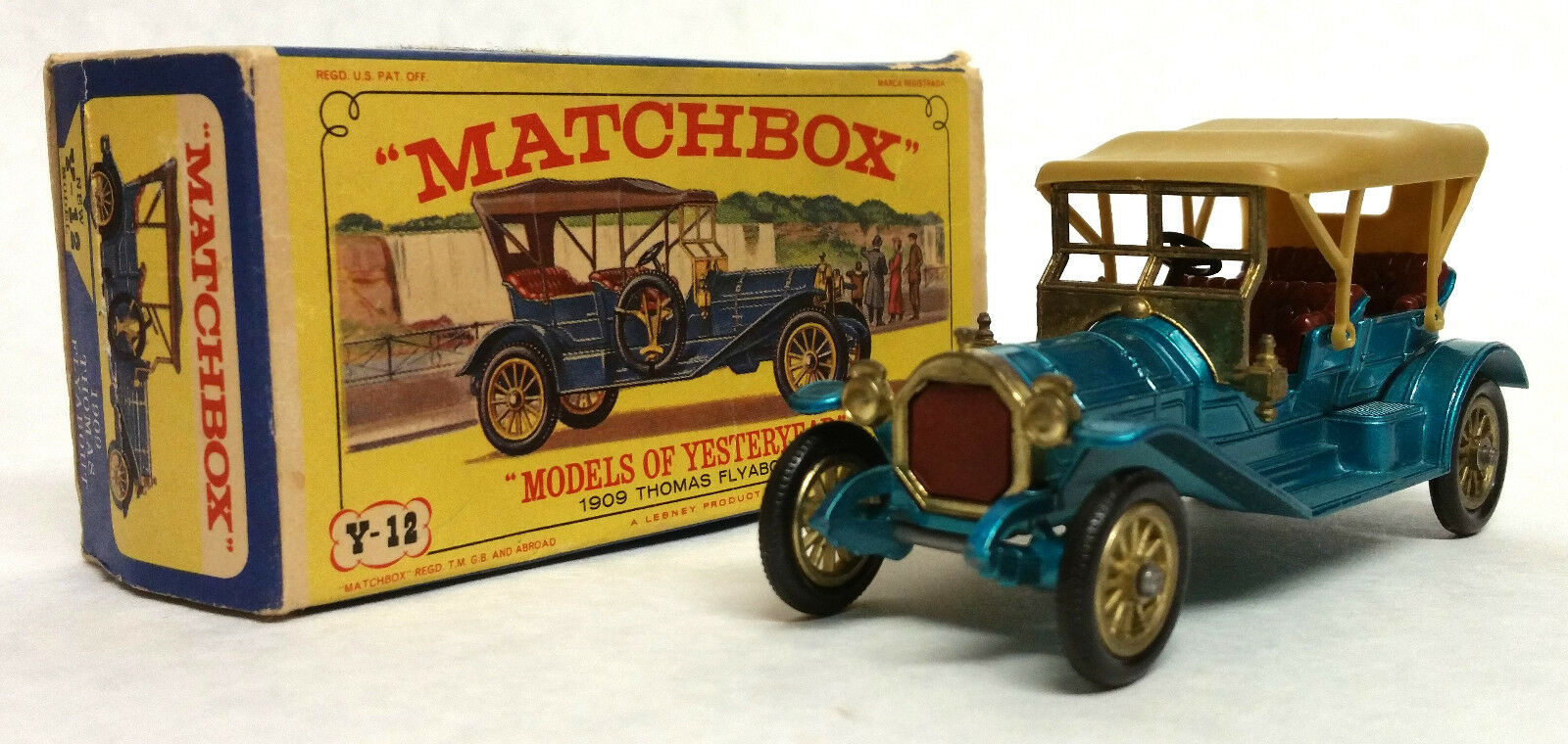 Vintage MATCHBOX YESTERYEAR Y-12 Lesney 1909 Thomas Flyabout Red Seats&Grill,Box
