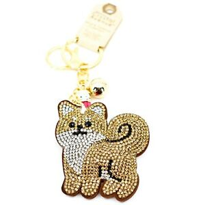 Pave-Crystal-Accent-3D-Stuffed-Pillow-Tan-Brown-Fox-Keychain-Key-Chain