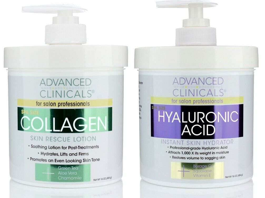 Advanced Clinicals Collagen Cream and Hyaluronic Acid Cream Skin Care Set of 2 2