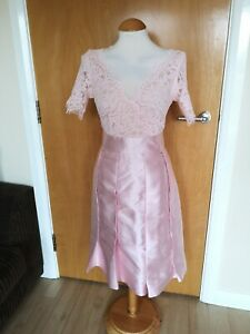 Ladies-LUCY-WANG-Dress-Size-12-Pink-Satin-Lace-Party-Wedding-Races