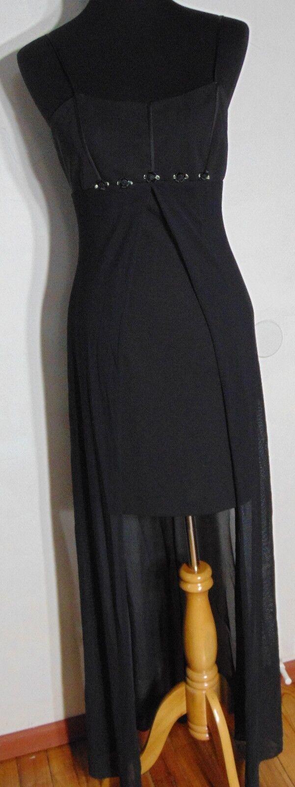 Blondie Nights Vintage Jrs. Black Sheath Dress/Chiffon Overlay Size 7-8 Made USA