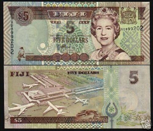 FIJI ISLANDS 5 DOLLARS P105 2003 AIR PLANE BOAT QUEEN BIRD UNC MONEY BANK NOTE