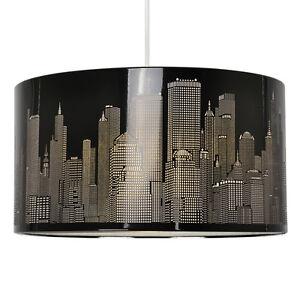 Grande-Redondo-40-cm-Black-Metal-New-York-Skyline-pantalla-de-cortina-de-lampara-de-luz-de-techo