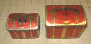 """2 Vintage ZVETOUCHNEY SWEE-TOUCH-NEE TEA TINS 3"""" x 4"""" Consolidated Tea CO, NY"""
