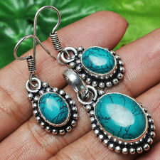 Genuine Turquoise Silver plated Pendant Earrings Set Gemstone Jewellery (set-1)