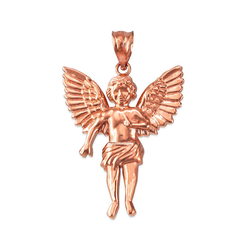 10K pink gold Cherub Guardian Angel Pendant (Small Large)