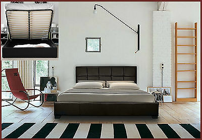 STORAGE OTTOMAN GAS LIFT DOUBLE OR KING SIZE LEATHER BED + MEMORY FOAM MATTRESS