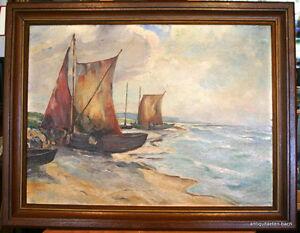 H-Roemgens-Olgemaelde-Fischerboote-Meereskueste-1947-Oil-on-canvas