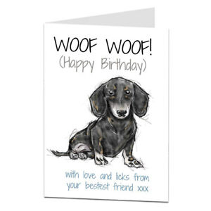 Image Is Loading Dachshund Birthday Card Perfect For Mum Dad Or