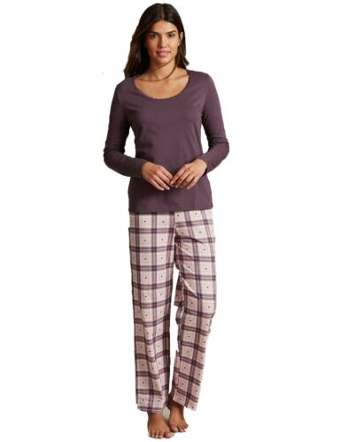 Ex Marks and Spencer Pure Cotton Checked Long Sleeve Pyjama  Size 12-14 P205.9