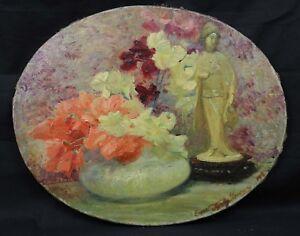 DéSintéRessé Emma Fanty-lescure (?-1935) Fleurs Et Guanyin Impressionnisme La Rochelle Chine Soulager Le Rhumatisme Et Le Froid