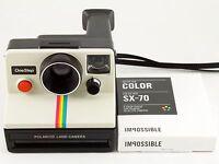Vintage Polaroid SX-70 OneStep White Rainbow Stripe Land Camera with Film TESTED