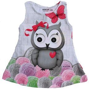 Baby-Girls-Frock-Dress-Top-Size-0000-8-VERY-Cute-OWL-Print-Cotton-Lycra