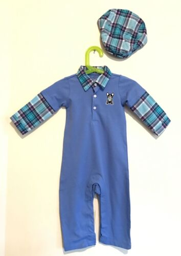 Lot of 2 Childrens Place Outfit Newsboy Hat & Overalls 0-3m 3-6m 9-12m 12-18m