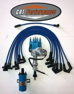 FORD SMALL BLOCK 351W WINDSOR BLUE HEI DISTRIBUTOR 8.5mm SPARK PLUG WIRES USA
