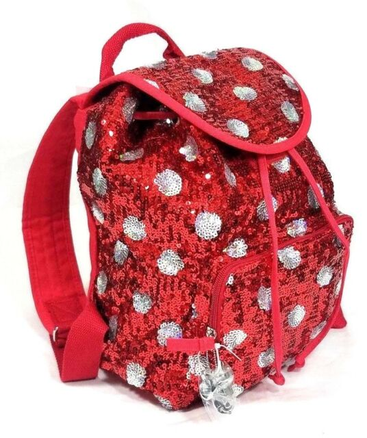 Disney Parks Minnie Mouse Sequined Red Polka Dots Backpack Book Bag Purse  New d6b3f1cb0360e
