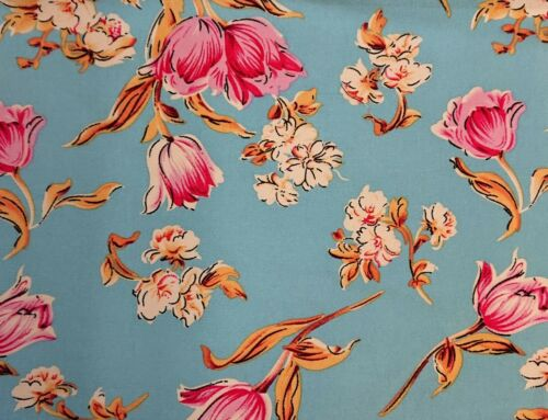 Viscose 1906 Blue Printed Dress Fabric 150 cm wide sold @ £4.99 per mtr.