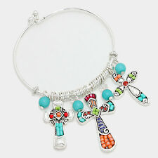 Cross Bracelet MULTI Beaded Faith Hope Charms Pearls SILVER Love Believe Jewelry