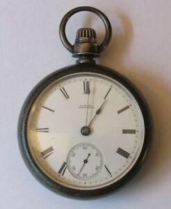 1880-WALTHAM-WM-ELLERY-18-SIZE-STERLING-SILVER-POCKET-WATCH-A-W-Co-CASE-RUNS