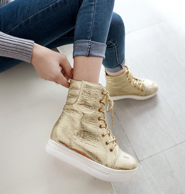 Women Shiny gold Wedge Lace up Platform shoes Plus Size US11 Ankle Boots Ske15