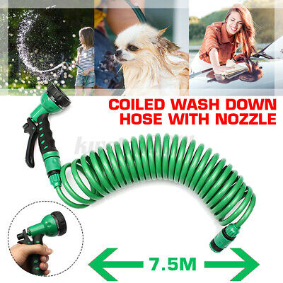 Flexible Coiled Spiral Garden Car Washing Clean Water Hose With Pattern Spray N