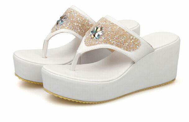 Sandali ciabatte donna infradito bianco zeppa 6.5 cm eleganti e comodi 9278