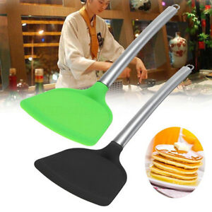 Non-stick-Pan-Stainless-Steel-Handle-Silicone-Wok-Turner-Spatula-Kitchen-Tool-MA