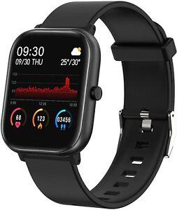 Fitness Tracker, Smart Watch für Android Handys Touchscreen ip68 (schwarz)