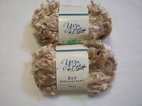 F16 Yarn Bee Elf Eyelash Yarn 90197 Almond 2 Skeins Yarn Lot Off White