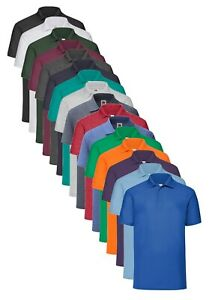 Fruit-of-the-Loom-65-35-Poli-Algodon-para-Hombre-Polo-camisa-de-deportes-Workwear-sin-logotipo-S-5XL