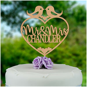 PERSONALISED-Mr-and-Mrs-Wooden-Wedding-Cake-Topper-Love-Birds-Cake-Decoration