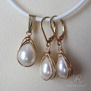 SET-mit-Kette-Zucht-Perlen-Tropfen-weiss-Anhaenger-amp-Ohrringe-ygf-14k-Gold-585