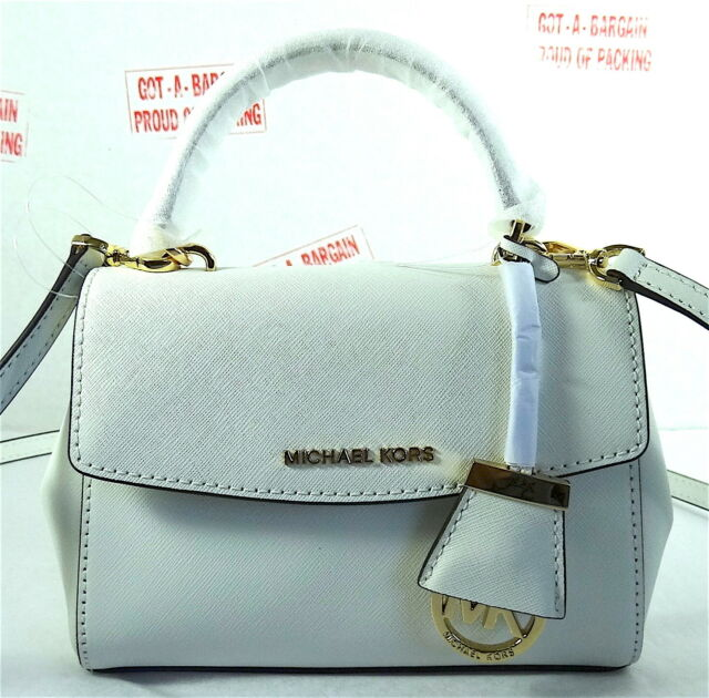 Michael Kors Ava Mini Extra Small White Saffiano Leather Crossbody Bag