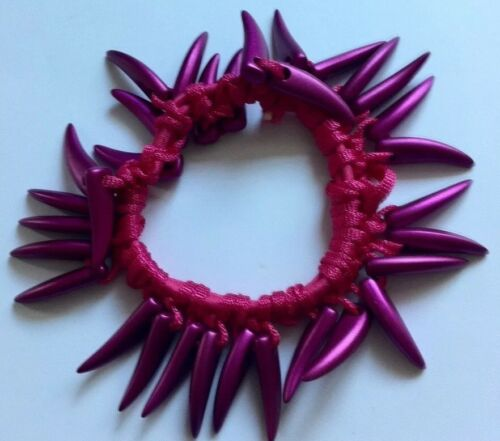 A Cerise Pink Shark Tooth beaded hair bobble//scrunchie