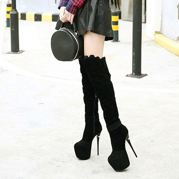 botas negro suave rodilla muslo 15 cm tacón de aguja alto 9583