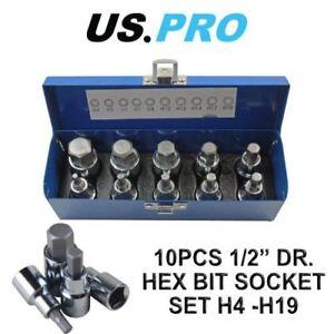 US-PRO-1-2-034-Dr-10pc-Hex-Allen-Bit-Sockets-Socket-Key-Set-H4-H19-1695