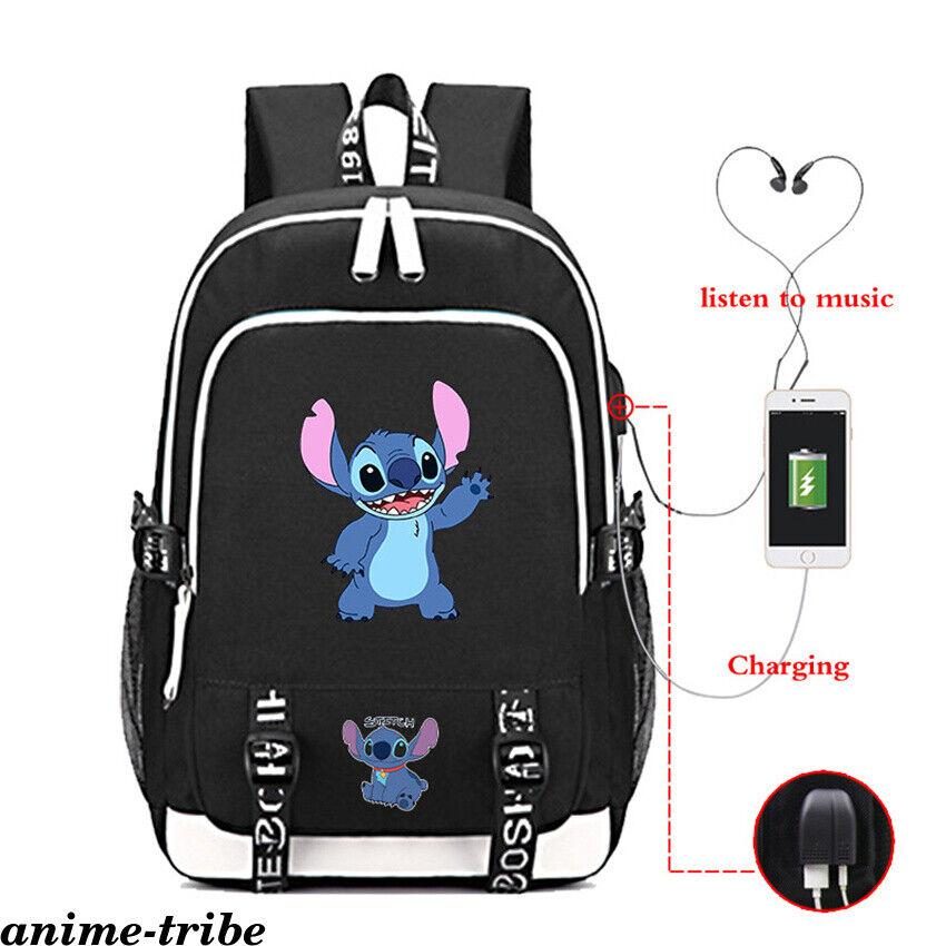 Anime Lilo Stitch Rucksack USB Charging Backpack Boys Schoolbag Zip Laptopbag
