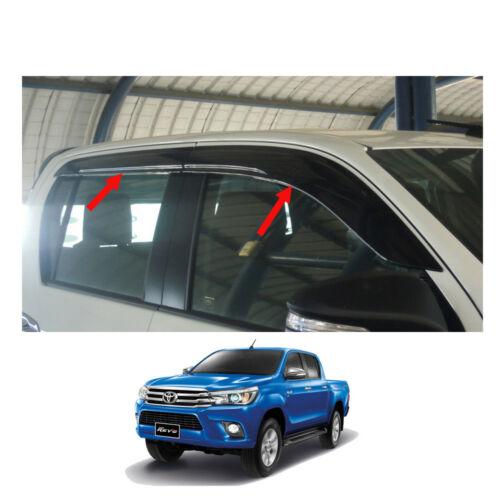 Visor Wind Deflector Weather Guard Black 4 Door For Toyota Hilux Revo 2015-2017