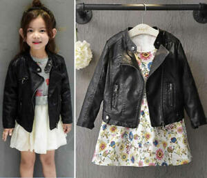 422d4adfc Baby Girl Boys Kids Autumn Winter PU Leather Jacket Coat Short Punk ...