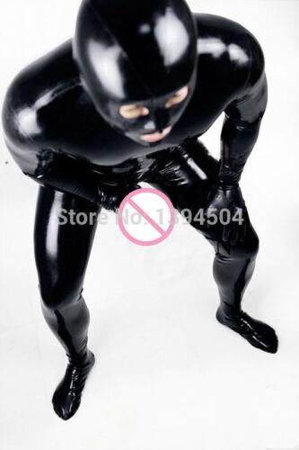 Mens PVC Bodysuit Faux Leather Catsuit Zipper Lycra Underwear Jumpsuit Costume